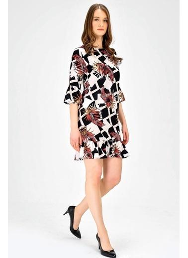 Jument Sıfır Yaka Çiçek Desenli Truvakar Kol Elbise-Siyah Çiçek Renkli